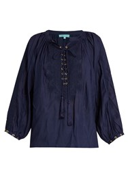 Melissa Odabash Alessandra Lace Up Shirt Navy