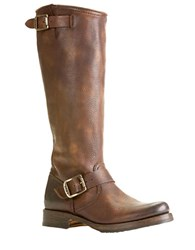Frye Veronica Slouch Leather Boots Dark Brown