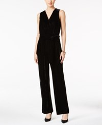 Ny Collection Petite Belted Wide Leg Jumpsuit Black