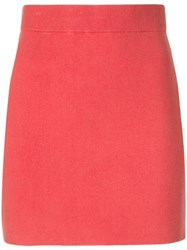 Alexander Wang T By Short Straight Skirt Red