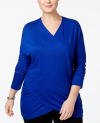 Inc International Concepts Plus Size Draped Crossover Tunic Top Only At Macy's Goddess Blue