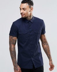 Asos Military Shirt In Navy With Short Sleeves Navy