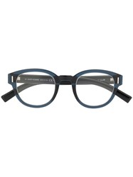 Christian Dior Eyewear Fraction Round Glasses Blue