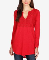 Lucky Brand Beaded Split Neck Top Tango Red