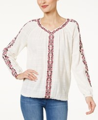 Styleandco. Style Co. Cotton Embroidered Peasant Top Only At Macy's Love Yourself Pink