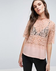 Y.A.S Luna Lace Shell Top Mahogany Rose Beige