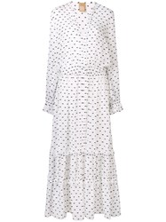Pascal Millet Embroidered Maxi Dress Women Silk Polyester 38 White
