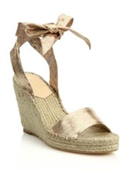 Loeffler Randall Harper Metallic Leather Espadrille Wedge Sandals Gold