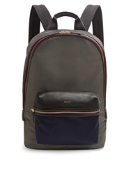 Paul Smith Bi Colour Leather Trimmed Nylon Backpack Grey Multi