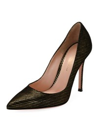 Gianvito Rossi Striped Metallic Fabric 105Mm Pump Gold Black
