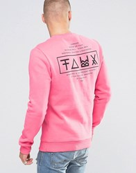 Friend Or Faux Tremer Back Print Sweater Pink