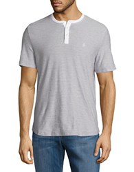 Original Penguin Heathered Striped Henley Mirage Gray