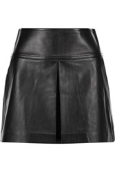 Alexander Wang T By Pleated Leather Mini Skirt Black