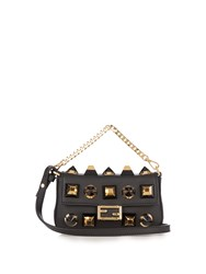 Fendi Micro Baguette Embellished Cross Body Bag Black Gold