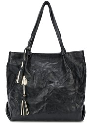 Henry Beguelin Textured Tassel Tote Black