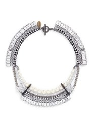 Venna Crystal Pave Star Faux Pearl Fringe Necklace White Metallic