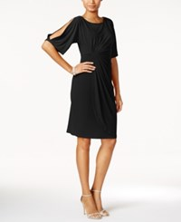 Connected Split Sleeve Faux Wrap Dress Black