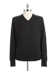 Guess Faux Leather Paneled Sweater Black