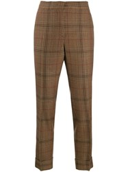 Pt01 Check Cropped Trousers Brown
