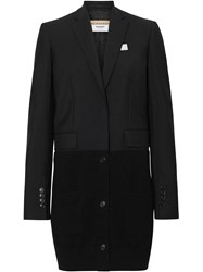 Burberry Cashmere Panel Wool Mohair Tailored Jacket Black