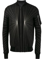 Rick Owens Embroidered Flight Bomber Jacket Black