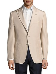 Tom Ford Solid Notch Lapel Silk Jacket Nude