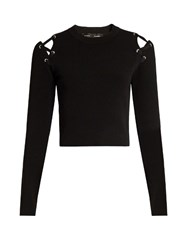 Proenza Schouler Cut Out Shoulder Crew Neck Sweater Black