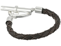 Lauren Ralph Lauren Braided Leather W Toggle Closure Bracelet Silver Brown Bracelet Taupe