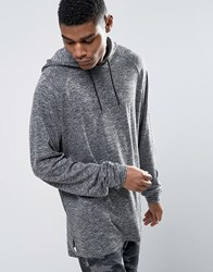 Asos Oversized Hooded Long Sleeve T Shirt With Super Long Sleeves In Knitted Jersey Grey
