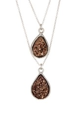 14Th And Union Dual Layer Druzy Necklace Brown