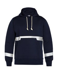 Junya Watanabe Reflective Neoprene Hooded Sweatshirt Navy