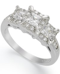 Macy's Three Stone Diamond Ring 1 Ct. T.W. In 14K White Gold