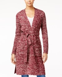 Almost Famous Juniors' Duster Cardigan With Belt Burgundy Ivory