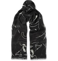 Valentino Printed Modal Cashmere And Silk Blend Scarf Black