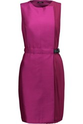 Raoul Sierra Paneled Wool Blend And Georgette Dress Magenta