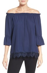 Bobeau Women's Off The Shoulder Lace Hem Top Navy