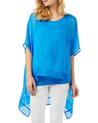 Phase Eight Monika Silk High Low Blouse Calypso Blue