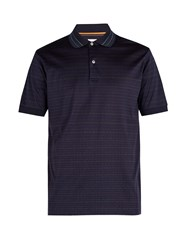 Paul Smith Striped Cotton Polo Shirt Navy