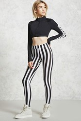 Forever 21 Striped Leggings Black