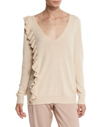 Elizabeth And James Odell V Neck Ruffle Trim Sweater Champagne
