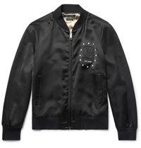 Marc Jacobs Embellished Satin Bomber Jacket Black