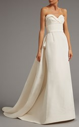 Elizabeth Kennedy Draped Bodice Gown With Overskirt White