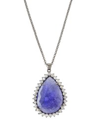 Bavna Long Tanzanite And Diamond Teardrop Pendant Necklace