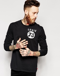 Levi's Long Sleeve Top Moto 73 Logo Print Graphic Black Graphicblack