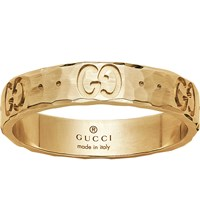 Gucci Icon Hammered 18Ct Yellow Gold Ring