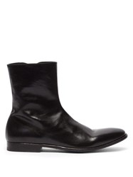 Alexander Mcqueen Washed Leather Ankle Boots Black