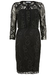 Gina Bacconi Floral Cord Embroidery Dress And Jacket Black