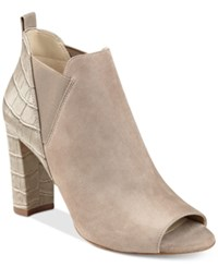 Marc Fisher Sayla Block Heel Peep Toe Booties Women's Shoes Tan Suede