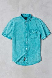 Cpo Stonewash Short Sleeve Button Down Shirt Turquoise