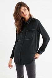 Urban Outfitters Uo Contrast Stitch Sheer Button Down Top Black